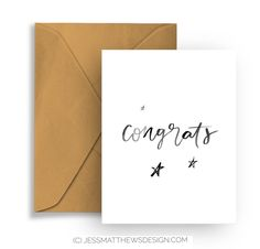 Congrats: Handcrafted Greeting Card Hand Lettering Typography Birthday Celebration Congratulations by jessmatthewsdesign on Etsy