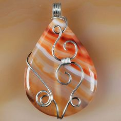 Wire Wrap Red Onyx Agate Pendant Bead H02959