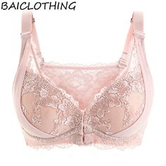 585934bc0f3 Womens 3 4 Cup Underwire Transparent Lace Floral Front Closure Embroidery  Big Size Bra Lingerie for Women 34 36 38 40 42 B C D