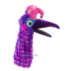 The Puppet Company handpop vogel Dazzle paars roze gestipt