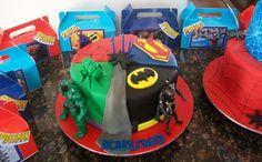 """Superheroes Cake - Batman, Spiderman, Superman and the Hulk"" Superhero Birthday Party, 4th Birthday, Birthday Ideas, Birthday Cake, Birthday Parties, Gab, Superman And Spiderman, Cake Icing, Hulk"