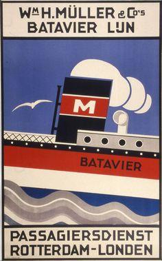 Wm. H. Müller & Co's Batavier Line travel poster, date unknown.