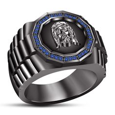 14k Black Gold Plated 925 Silver Round Blue Sapphire Men's Special Jesus Ring…