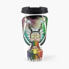 'Peace among worlds - Rick & Morty (TM) ' Travel Mug by MonoMano Rick And Morty, Mug Designs, Notebooks, Travel Mug, Cat Lovers, I Shop, My Arts, Geek Stuff, Fan Art