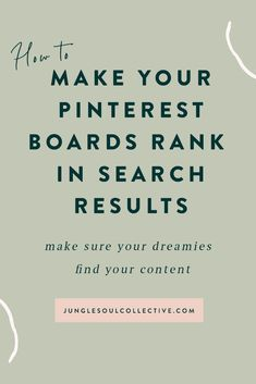 Quick Pinterest marketing tip! Did you know that the way your Pinterest boards are set up determines if they're searchable and findable? Yup - you need to optimize your Pinterest boards with keywords to get them to rank in search. Click for a rundown on how to choose the best keyword strategy, Pinterest board names, categories and optimize your Pinterest boards with the latest SEO practices. #pinterestmarketing #pinterestforbusiness #junglesoulcollective #pinteresttips #pinterestforcreatives…