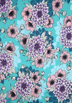 """Finnish design jersey fabric """"Dahlia day"""" by Nora Bisi - Mieli Design.  Produced by Kangaskapina.fi. Dahlia, Fabric Design, Day, Artist, Dahlias, Artists"""