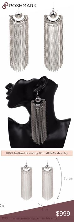 Silver Chain Fringe Tassel Statement Earrings Brand new in original packaging!  Luxurious long silver tone fringe chain tassel drop earrings.  The vintage style water drop shape dangling chains make these classy earrings unique & great for any occasion!  Dress up or down, these statement earrings will turn heads!  Hook backings, measurements in photo.  All sales are final, please ask all questions prior to purchasing! Jewelry Earrings