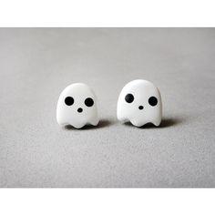 Cute Kawaii White Ghost Earrings Halloween Jewelry ($10) ❤ liked on Polyvore featuring jewelry, earrings, accessories, brincos, piercings, surgical steel jewelry, white jewelry, surgical steel earrings and white earrings