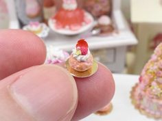 Pink Ispahan Baba - Miniature French Pastry in 12th Scale