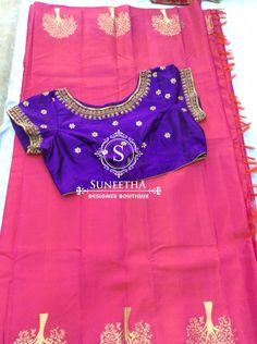 Kanchipuram pattu sarees with Maggam work blouses by Suneetha Designer boutique! Work Blouse, Blouse Designs, Boho Shorts, Sarees, Blouses, Models, Boutique, Skirts, Women