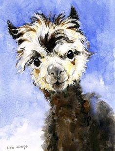 Alpaca by Lita Judge Alpacas, Watercolor Animals, Watercolor Paintings, Original Paintings, Animal Drawings, Art Drawings, Drawing Animals, Lama Animal, Mundo Animal