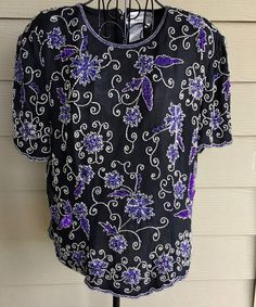 Papell Boutique 100% Silk Sequin Beaded Top Blouse Black Purple Large #PapellBoutique #Blouse