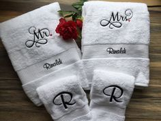 Embroidered Mr & Mrs Towel Set by EmbroideryByDarlene on Etsy Embroidered Gifts, Embroidered Towels, His And Hers Towels, Monogram Towels, Towel Embroidery, Wedding Embroidery, Machine Embroidery Projects, Personalized Wedding Gifts, Personalized Products