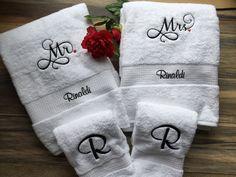 Embroidered Mr & Mrs Towel Set / Bride Groom. Wedding / Shower gift by  EmbroideryByDarlene