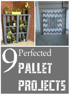 9 Perfected Pallet Projects I'm pinning this for the little plant shelf shown on the picture.
