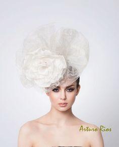 Avant Garde Wedding Hat, Bridal Silk hat, Couture Wedding Hat, Veil, Arturo Rios Hats