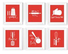 Kitchen Wall Art Printables 6 Set Kitchen Art Bright | Etsy Red Kitchen, Kitchen Signs, Kitchen Colors, Kitchen Quotes, Kitchen Prints, Kitchen Wall Art, Kitchen Decor, Quote Posters, Quote Prints