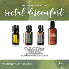 Pregnancy Support Series: Rectal Discomfort. Maybe not the most popular topic of discussion, but you'll find natural relief for rectal discomfort during pregnancy or after delivery with this blend. #essentialoils #naturalremedy #naturalpregnancy #naturalbirth #healthy #doterra #jesshillpowell #flourish