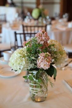 mason jar & hydrangea centerpieces–these would have been perfect for mels wedding