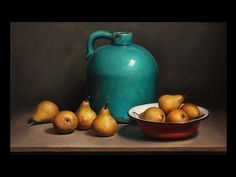 Still life with pears and green bottle - Jos van Riswick Still life Paintings / Stilllifes Still Life Drawing, Still Life Oil Painting, Acrylic Painting For Beginners, Painting Videos, Still Life Images, Still Life Fruit, Fruit Painting, Painting Clouds, Painting Flowers