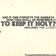 If one forgets the Sabbath...