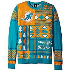 Men's Aqua Miami Dolphins Bluetooth Light Up Ugly Sweater