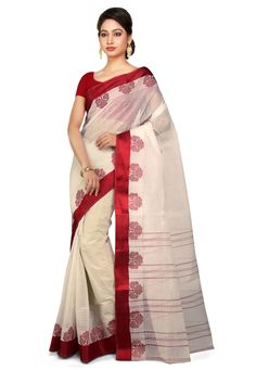 Beautifully designed with Stripe pattern and Woven Resham Highlighted with Floral and Foliage Motifs Available with unstitched Cotton Blouse in Maroon Free Services: Fall and Edging (Pico) Genuine product by Handloom Mark Organisation of India