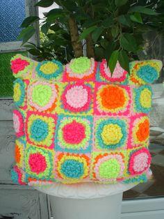 Bright Crochet Granny Square Cushion Pillow by LillyBev on Etsy