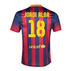 Official Jordi Alba - Kids football shirt for the Barcelona Football team. This is the new Barcelona home shirt for the 2013-14 La Liga season which is manufactured by Nike and is available in adult sizes S, M, L, XL, XXL and kids sizes small boys, medium boys, large boys, XL boys. This Barcelona football shirt is red and blue in colour and comes with Jordi Alba - Kids shirt printing on the jersey.