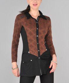 Look at this #zulilyfind! Dzhavael Couture Black & Brown Button-Up Top by Dzhavael Couture #zulilyfinds