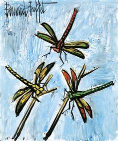 Bernard Buffet Les libellules,1995 Oil on Masonite, 55.00x46.00 cm