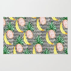 Pineapple and Banana Area & Throw Rug by Bouffants and Broken Hearts - $28.00