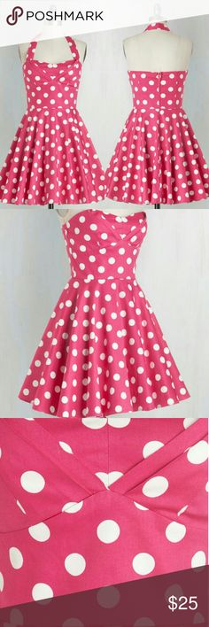 Traveling Cupcake Truck Dress in Pink Adorably whimsical NWT halter dress with polka dot print - padded and lined bodice, pleated skirt, removable straps, elasticized back + fabric provides stretch, 97% Cotton + 3% Spandex ModCloth Dresses