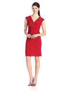 MSK Women's Sleeveless Faux Wrap Dress