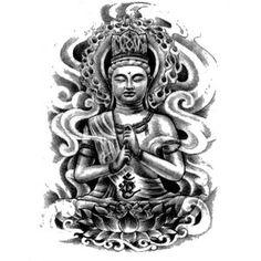 jambe de bras de corps de tatouage temporaire autocollant bouddha d ...