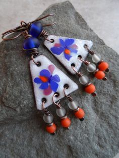 Iris in Bloom ... Enameled Copper, Antique Desert Glass Lampwork, Fringe and Copper Wire-Wrapped Boho, Summery, Floral Earrings