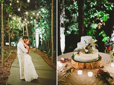 LOVE this wedding... bride decorated mason jars with glitter so they sparkled at night :)