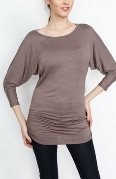 Mocha 3/4 Knit Dolman Top - #WholesaleTops, #Casual #DayTops, #Solid, #Dressy #Chic #Trendy, #Spring #SpringWear, #CloseoutTops
