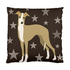 Italian Greyhound with Stars on Brown Background by nantulov