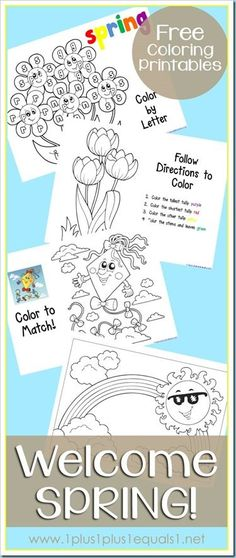 Welcome Spring Coloring Printables {free} - busy fun for those late start mornings Spring Theme, Spring Colors, Spring Coloring Pages, Spring School, For Elise, Welcome Spring, Spring Activities, Spring Crafts, Preschool Activities