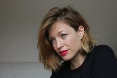 Love this simplicity... messy hair, minimal makeup with red lips....