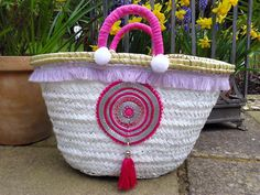 Childrens Beach Basket Embellished Bag Shopping Basket by MariZoli - SOLD