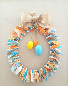 Easter egg fabric rag wreath crafts / diy пасха e венки Easter Crafts, Fun Crafts, Diy And Crafts, Easter Ideas, Simple Crafts, Wreath Crafts, Diy Wreath, Wreath Ideas, Ornament Wreath
