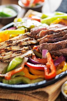 Copycat Chili's Fajitas Recipe with Chicken Breast or Sirloin Steak, Bell Pepper, Onion, Lime Juice, Garlic, Soy Sauce, Sea Salt, Liquid Smoke, Cayenne Pepper - Gluten Free and Paleo