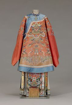 Bridal coat Nationality: Chinese Creation date: about 1870 Dynasty: Qing dynasty Materials: silk damask, embroidered with silk threads Gallery label: In China, red is associated with family celebrations, particularly weddings and births. It was appropriate for bridal attire to be embellished with imperial symbols. The dragon symbol for the emperor represents the groom, and the phoenix, which is the symbol of the empress, represents the bride. On the upper front of the jacket and above the dragon, two pomegranates are depicted. Pomegranate, with its many seeds, is a symbol of fertility. Many other auspicious motifs, including clouds, symbol of good fortune, and bats, symbol of happiness, surround the dragon and two phoenixes.