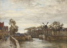 Johan Hendrik van Mastenbroek (1875-1945) | A view of Delfshaven chalk, watercolour and gouache on paper | 19th Century, Drawings & Watercolors | Christie's
