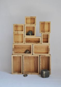 "Matylda Krzykowski and Kaspar Hamacher, ""Display Case"", wooden containers made of oak wood. Photo courtesy of the artist."