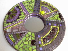 Purple Electric Lime Round Mosaic Mirror by TheMosartStudio