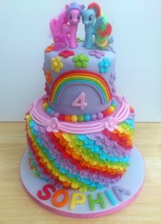 my little pony 2 tier rainbow theme novelty birthday cake