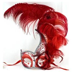 Venice Carnival Masquerade Red Feather Mask ❤ liked on Polyvore